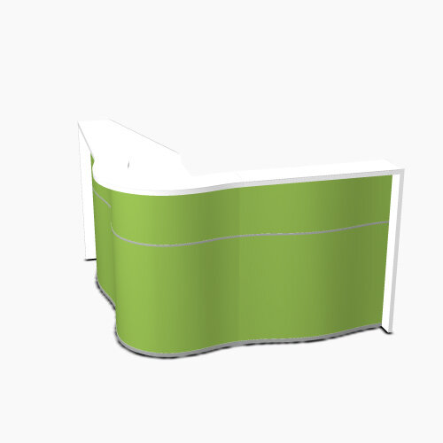 Wave Modern Design Curved Reception Desk with White Counter Top &High Gloss Dark Green Front W1810xD1810xH1103mm