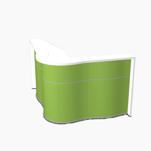 Wave Modern Design Curved Reception Desk with White Counter Top &High Gloss Dark Green Front W1810xD1590xH1103mm
