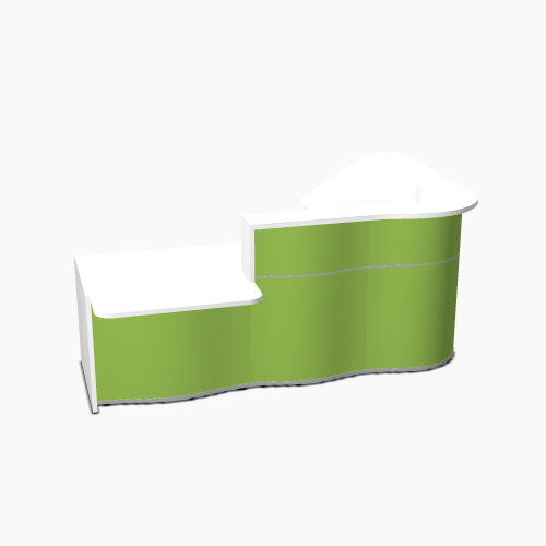 Wave Modern Design Curved Reception Desk White Counter Top with Left Low Level Section &High Gloss Dark Green Front W2560xD1605xH1103mm