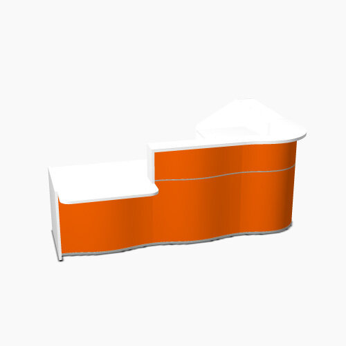 Wave Modern Design Curved Reception Desk White Counter Top with Left Low Level Section &High Gloss Orange Front W2780xD1825xH1103mm