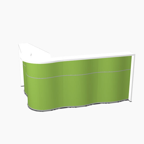 Wave Modern Design  L-Shaped Reception Desk with White Counter Top &High Gloss Dark Green Front W2340xD1590xH1103mm