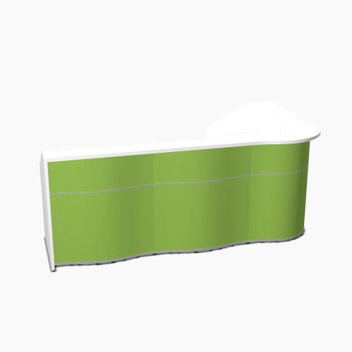 Wave Modern Design L-Shaped Reception Desk with White Counter Top &High Gloss Dark Green Front W2780xD1591xH1103mm