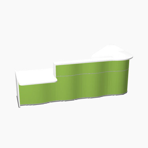 Wave Modern Design L-Shaped Reception Desk White Counter Top with Left Low Level Section &High Gloss Dark Green Front W3310xD1807xH1103mm