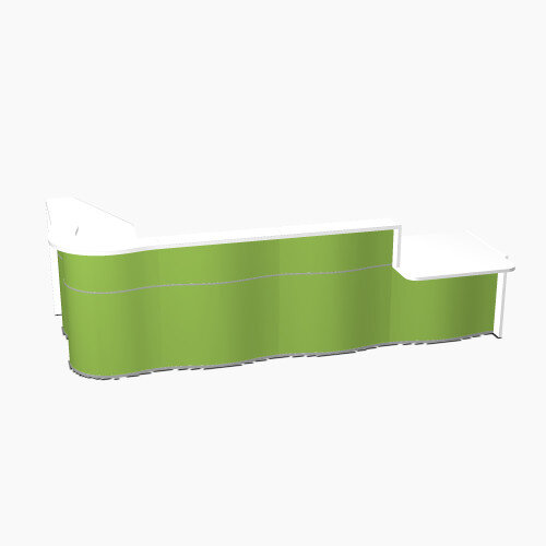 Wave Modern Design L-Shaped Reception Desk White Counter Top with Right Low Level Section &High Gloss Dark Green Front W3750xD1807xH1103mm