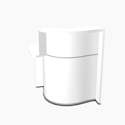 Wave Modern Design Small Curved Reception Desk White Counter Top with Right Low Level Section &High Gloss White Front W858xD925xH1103mm