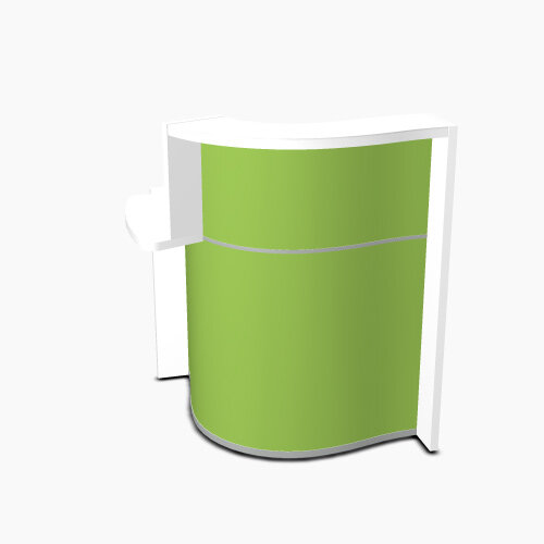 Wave Modern Design Small Curved Reception Desk White Counter Top with Right Low Level Section &High Gloss Dark Green Front W858xD925xH1103mm