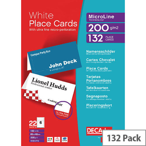 Decadry Perforated White Place Card 132 Pack – 85 x 46mm, 6 Cards Per A4 Sheet, 22 Sheets Per Pack, Micro-Perforated, 200gsm &Suitable For Inkjet and Laser Printers (DPOCB3713)