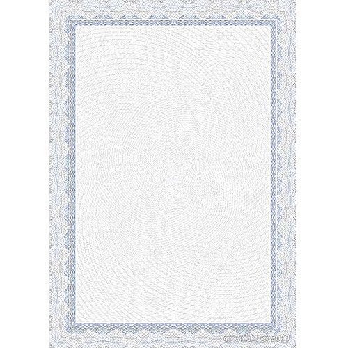 LX18758 Decadry Border Certificate A4 Paper 115gsm Blue OSD4040 Pack of 25