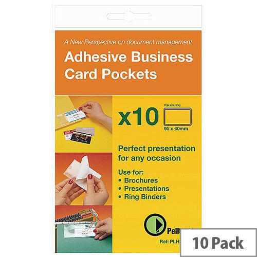 Pelltech Business Card Pocket 60x95mm Open Side Pk 10 PLH25510