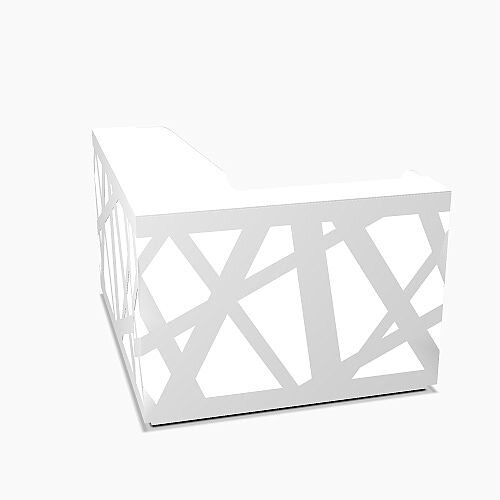 Zig Zag Modern Design Illuminated Solid Surface L-Shaped White Reception Desk W1600mmxD1880mmxH1146mm