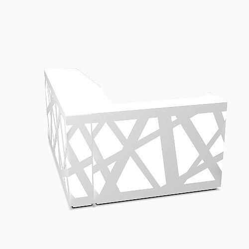 Zig Zag Modern Design Illuminated Solid Surface L-Shaped White Reception Desk W2200mmxD1880mmxH1146mm