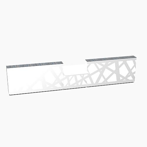 Zig Zag Modern Design Illuminated Solid Surface Straight White Reception Desk with Central Low Level Section W5400mmxD1180mmxH1146mm