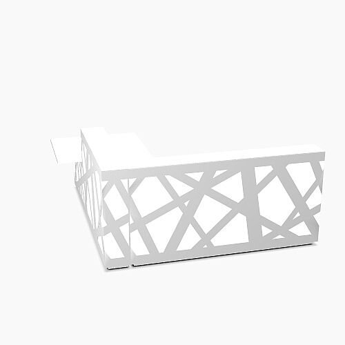 Zig Zag Modern Design Illuminated Solid Surface L-Shaped White Reception Desk with Right Low Level Section W2600mmxD2780mmxH1146mm