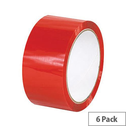 Red Polypropylene Packing Tape 50mm x 66m (6 Pack)