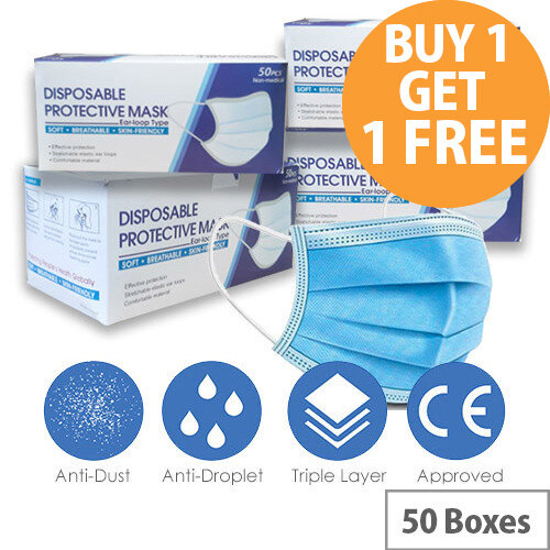 Disposable 3 Ply Protective Mask With Ear Loop 50 Boxes of 50 Masks Ref:HA4814001