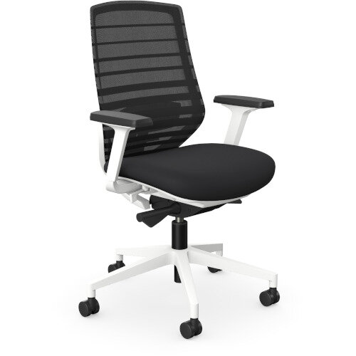 X.77 Office Operator Chair with Black Mesh Back And Adjustable Lumbar Support White Frame