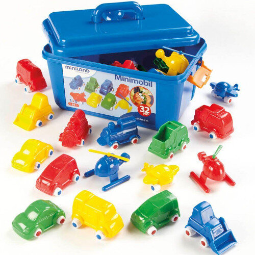 Plastic Colourful Chunky Vehicle Set of 36pcs - Strengthening Motor Skills - Vehicles to Push, Pull and Race - Assorted Colours