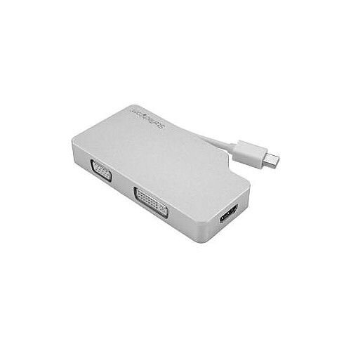 StarTech Aluminum Travel A/V Adapter: 3-in-1 Mini DisplayPort to VGA DVI or HDMI mDP Adapter 4K MDPVGDVHD4K