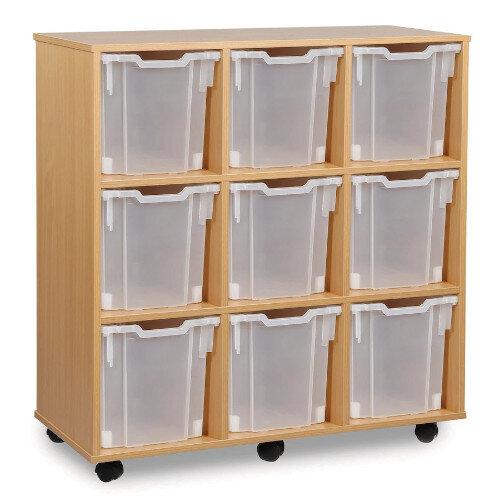 Tray Storage Unit With Nine Jumbo Trays Clear H1067mm