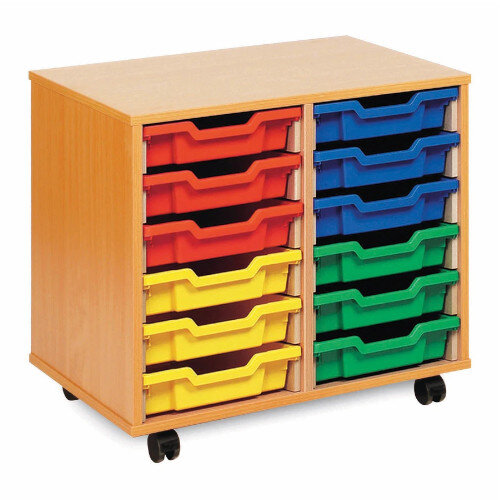 Tray Storage Unit With 28 Shallow Trays Multi H617mm