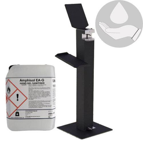 Metal Free-Standing Sanitiser Gel Dispenser Anthracite &5L Fully Approved Ethanol Based Sanitiser Gel