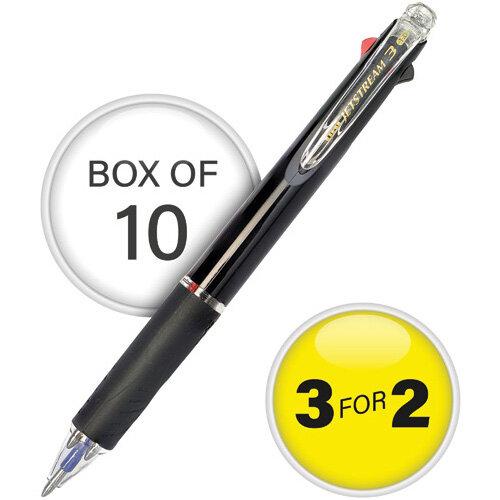 Uni-Ball Jetstream Black Barrel 3 Colour Pen Medium Pack of 10 3For2