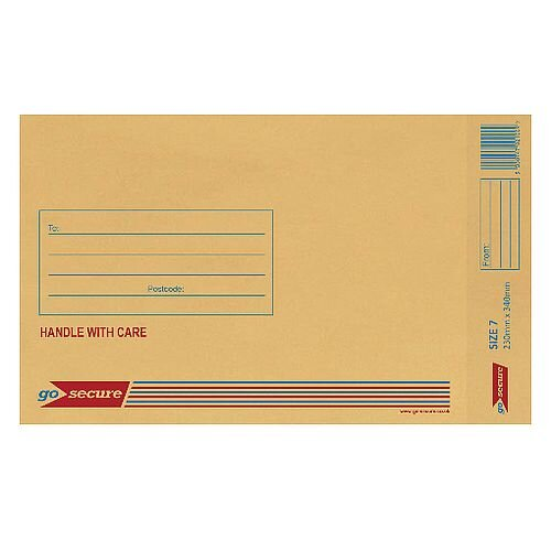 GoSecure Size 7 Bubble Lined Envelope 230x340mm Gold Pack of 50 ML10054
