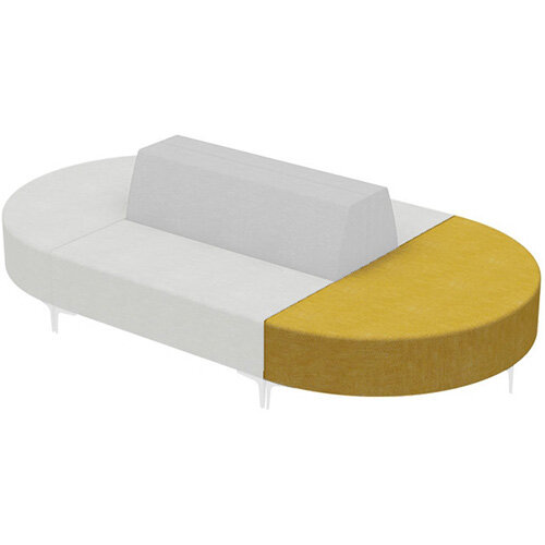 Frovi HUDDLE MODULAR Semi-Circular Island Unit With Chrome Feet H440xW1520xD760mm 440mm Seat Height - Fabric Band D