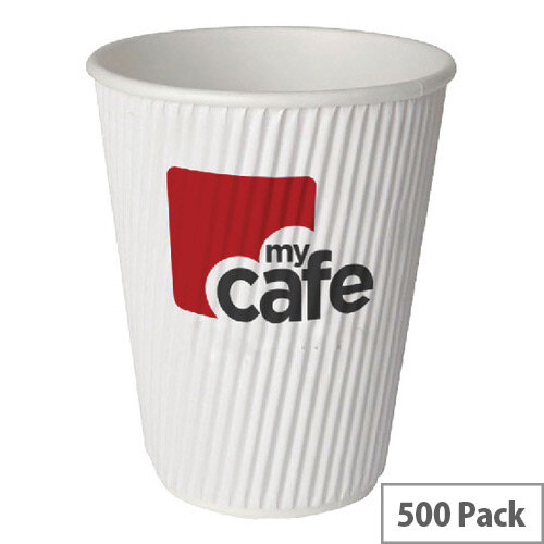 Mycafe 8oz/250ml Ripple Wall Hot Drinks Disposable Paper Cups (500 Pack)