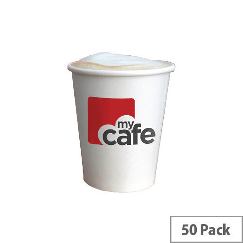 Mycafe 8oz/250ml Single Wall Paper Disposable Hot Cups (50 Pack) HVSWPA08V