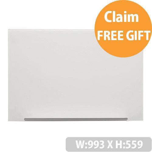 Nobo Diamond White Magnetic Glass Board 993 x 559mm 1905176