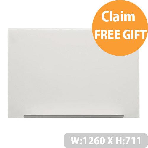 Nobo Diamond White Magnetic Glass Board 1260 x 711mm 1905177
