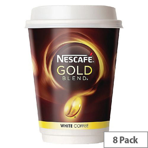 Nescafe &Go Gold Blend White Coffee Foil Sealed Cups for Drinks Machine A02781 Pack 8