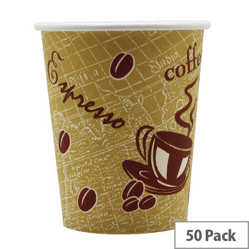 Hot Drink Cafe Disposable Paper Cups 9oz/270ml [Pack of 50] R2GO