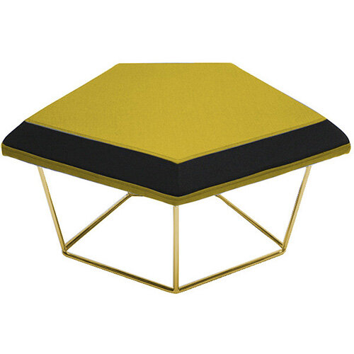 Frovi NEST Modular Stool With Vintage Brass Wire Frame H430xW850xD680mm - Fabric Band B