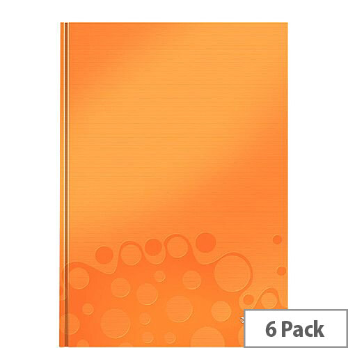 Leitz WOW Hardcover Notebook A4 Orange Pack of 6