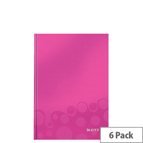 Leitz WOW Hardcover Notebook A5 Pink Pack of 6