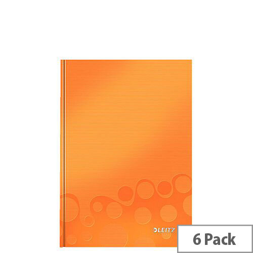 Leitz WOW Hardcover Notebook A5 Orange Pack of 6