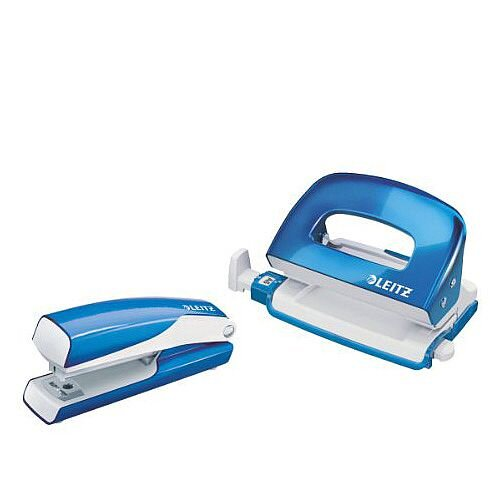 Leitz WOW Mini Stapler and Hole Punch Set Metallic Blue