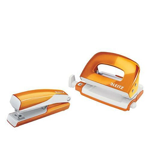 Leitz WOW Mini Stapler and Hole Punch Set Metallic Orange