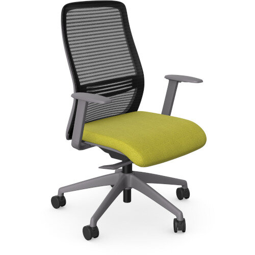 NV Posture Office Chair with Contoured Mesh Back and Adjustable Lumbar Support Grey Frame Green Seat