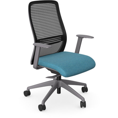 NV Posture Office Chair with Contoured Mesh Back and Adjustable Lumbar Support Grey Frame Light Blue Seat