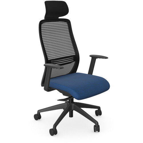 NV Posture Office Chair with Contoured Mesh Back and Adjustable Lumbar Support &Headrest Black Frame Navy Blue Seat