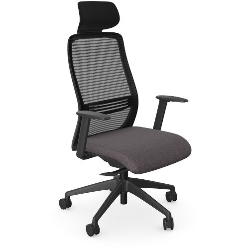 NV Posture Office Chair with Contoured Mesh Back and Adjustable Lumbar Support &Headrest Black Frame Grey Seat
