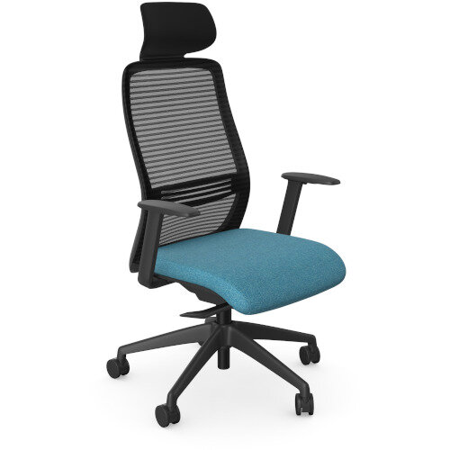 NV Posture Office Chair with Contoured Mesh Back and Adjustable Lumbar Support &Headrest Black Frame Light Blue Seat