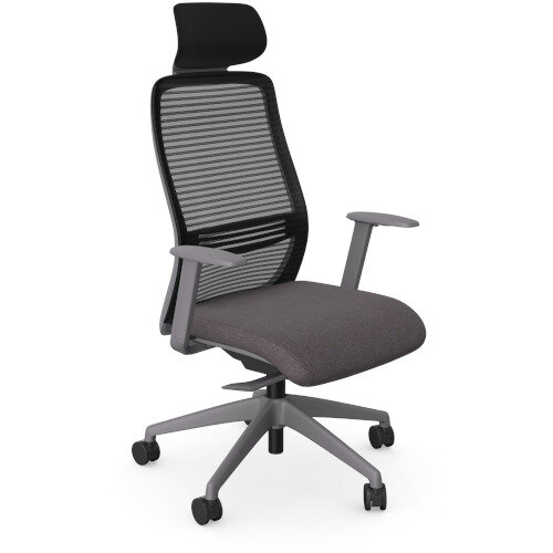 NV Posture Office Chair with Contoured Mesh Back and Adjustable Lumbar Support &Headrest Grey Frame Grey Seat