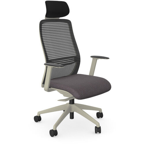 NV Posture Office Chair with Contoured Mesh Back and Adjustable Lumbar Support &Headrest White Frame Grey Seat