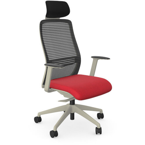 NV Posture Office Chair with Contoured Mesh Back and Adjustable Lumbar Support &Headrest White Frame Red Seat