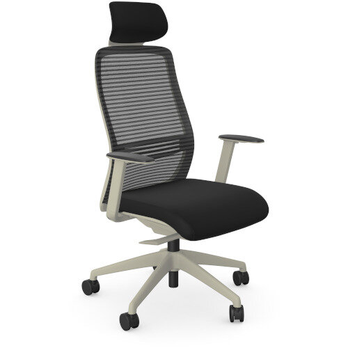 NV Posture Office Chair with Contoured Mesh Back and Adjustable Lumbar Support &Headrest White Frame Black Seat