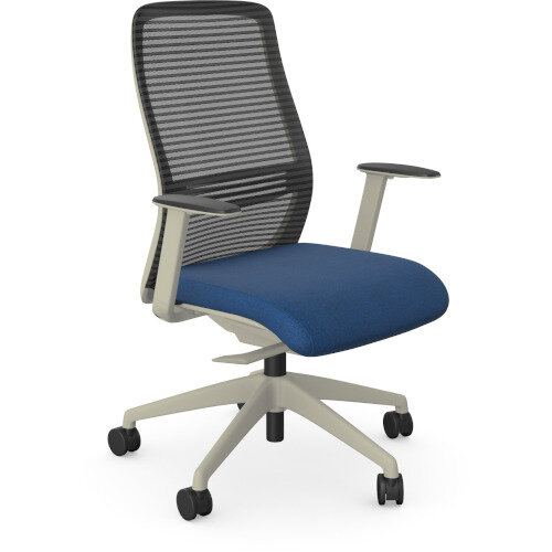 NV Posture Office Chair with Contoured Mesh Back and Adjustable Lumbar Support White Frame Navy Blue Seat